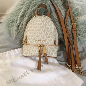 Michael Kors Rhea Mini Logo Backpack in vanilla!